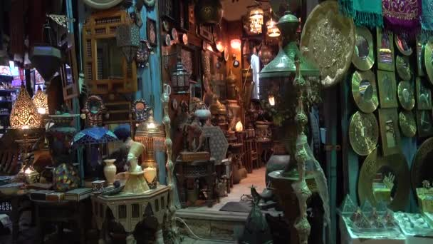 Cairo, Egypt - February 02, 2019: Lamp or Lantern Shop in the Khan El Khalili market in Islamic Cairo