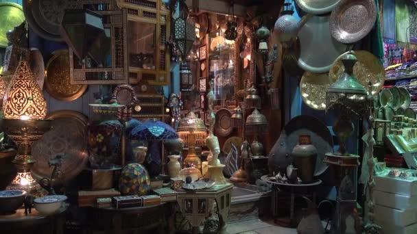 Cairo, Egypt - February 02, 2019: Lamp or Lantern Shop in the Khan El Khalili market in Islamic Cairo