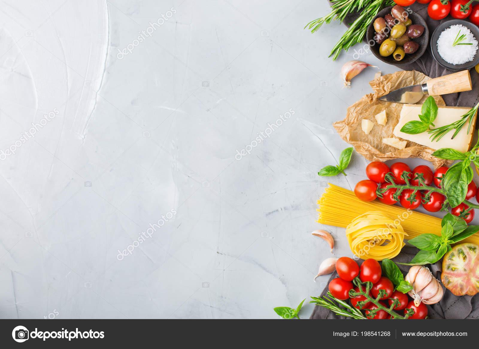 Italian Food Ingredients Cooking Background Pasta Olive Oil Parmesan ...
