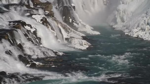 Gullfoss waterfall view and winter Lanscape picture in the winter season. Gullfoss is one of the most popular waterfalls in Iceland and tourist attractions in the canyon of the Hvita river Iceland.