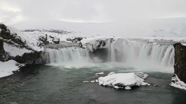 Godafoss, One of the most famous waterfalls in Iceland. Godafoss covered in snow and ice. Godafoss, or the