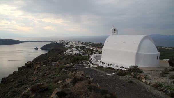 Santorini, Řecko. Překrásný výhled na Santorini povahy, sopka Santorini, tradiční kykladské Santorini domů, vesnici Oia, Fira, caldera.