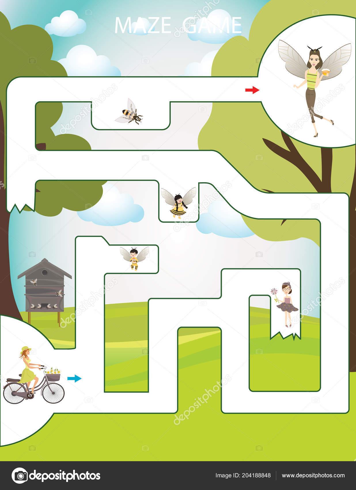 Arı Kovanı Maze Oyunu çocuklar Için çocuklar Meşgul Sayfa Okul