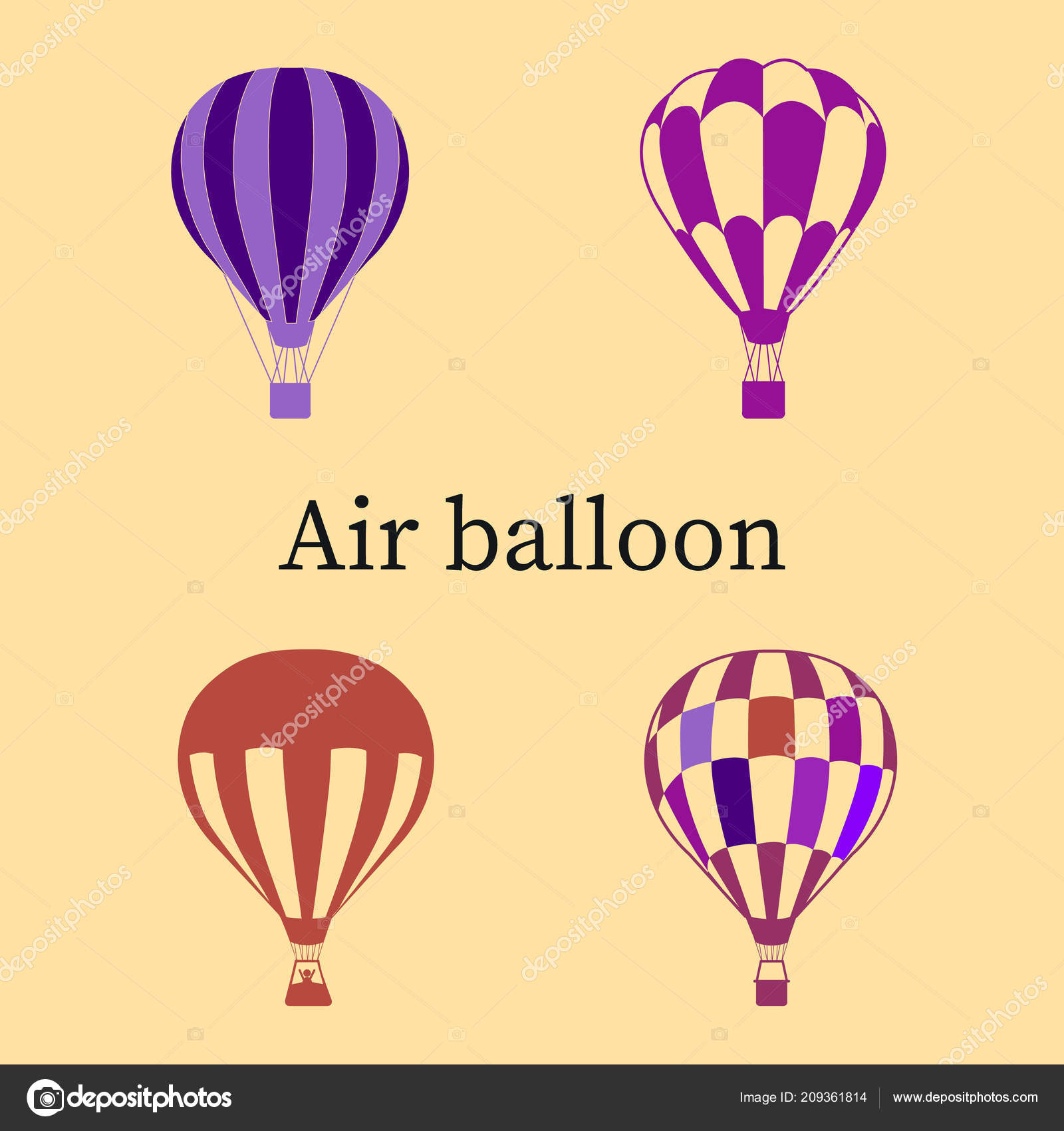 Lieblich Set Balloons Purple Ultraviolet Silhouette Beige Background Vector U2014  Vetores De Stock