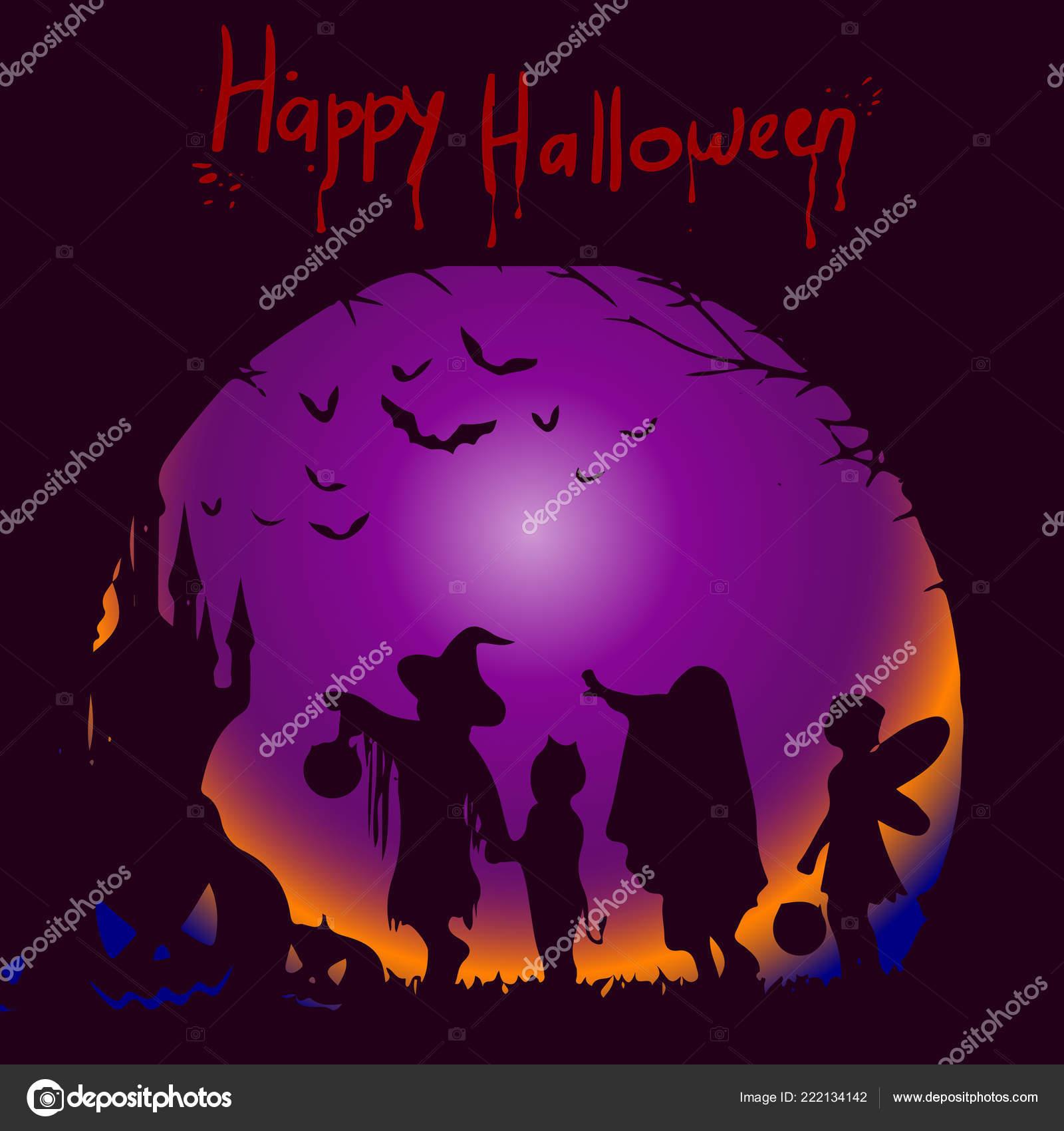 Template Illustration Holiday Halloween Silhouette Character Dark