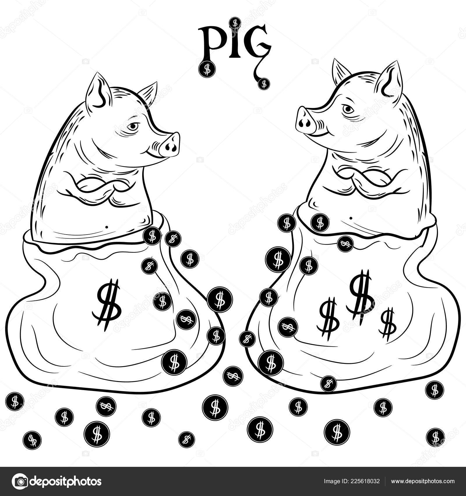 Happy Pig Bag Coins Drawing Symbol Chinese New Year Vector Stock