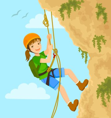 Young girl rappels down the mountain with ropes