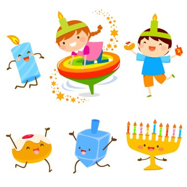 Set of cartoon children and Hanukkah symbols