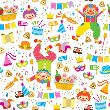 Seamless pattern for Purim with clowns, noise makers and other holiday symbols