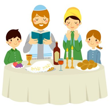 Jewish family having a Shabbat dinner with a traditional Kiddush