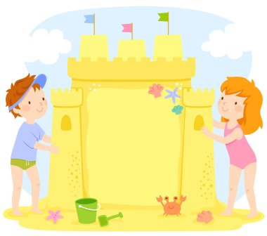 Kids building a sand castle at the beach. The castle contains copy space.