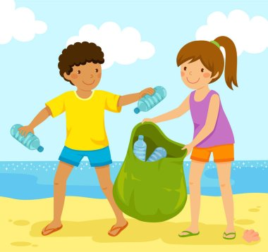 Kids cleaning up the beach from polluting plastic bottles.