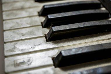 Old unused dusty piano keys