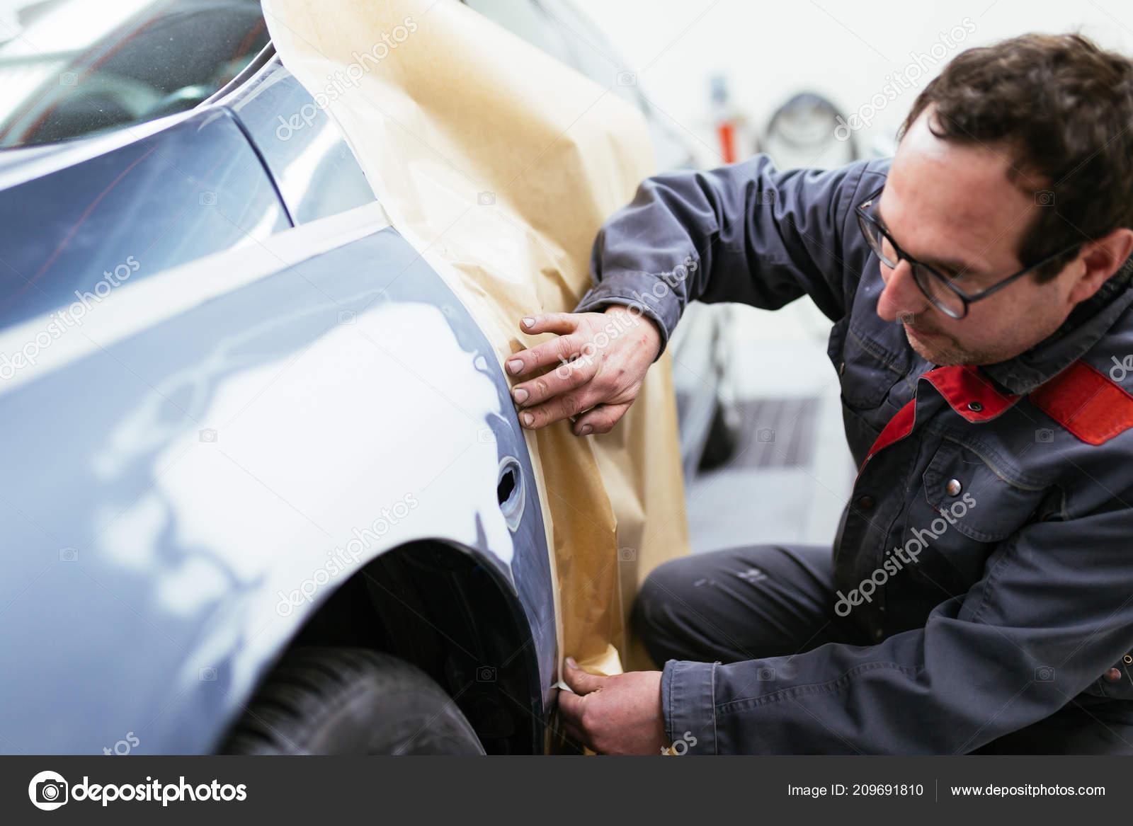 Procédure Peinture Voiture Magasin Service Auto Photographie