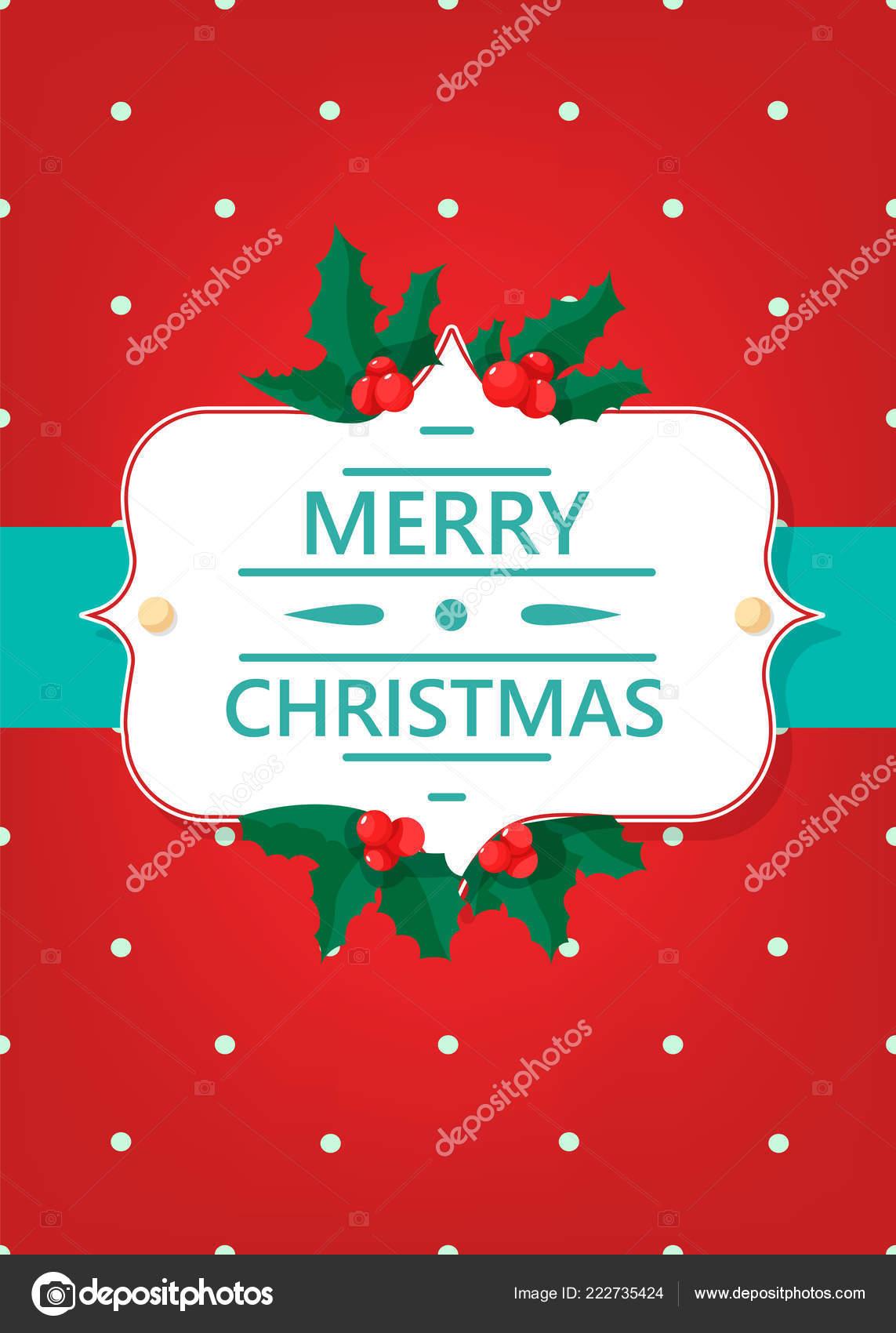 Simple Merry Christmas Greeting Card Print Standart — Stock Vector ...