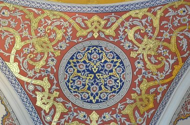 ISTANBUL, TURKEY - MAY 11, 2018: Ornate ceiling in Topkapi Palace and Museum in Istanbul Turkey