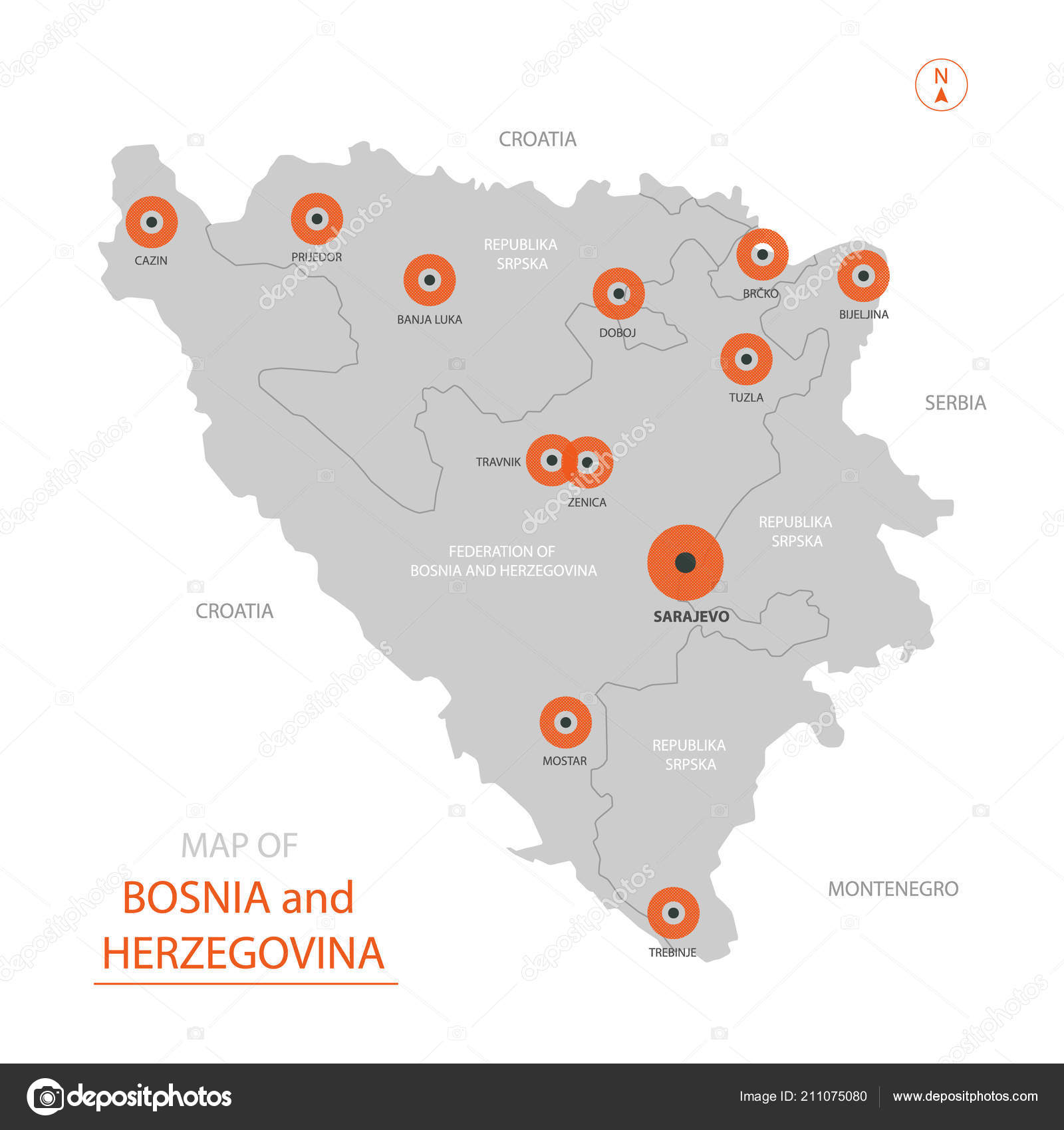 Stylized Vector Bosnia Herzegovina Map Showing Big Cities Capital