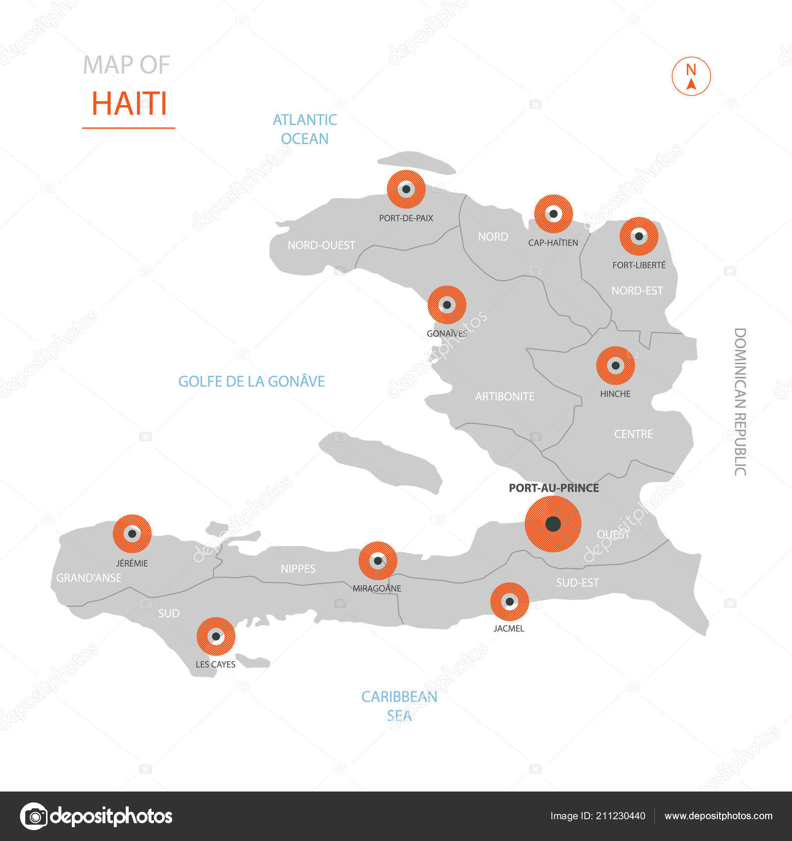 Stylized Vector Haiti Map Showing Big Cities Capital Port Prince ...