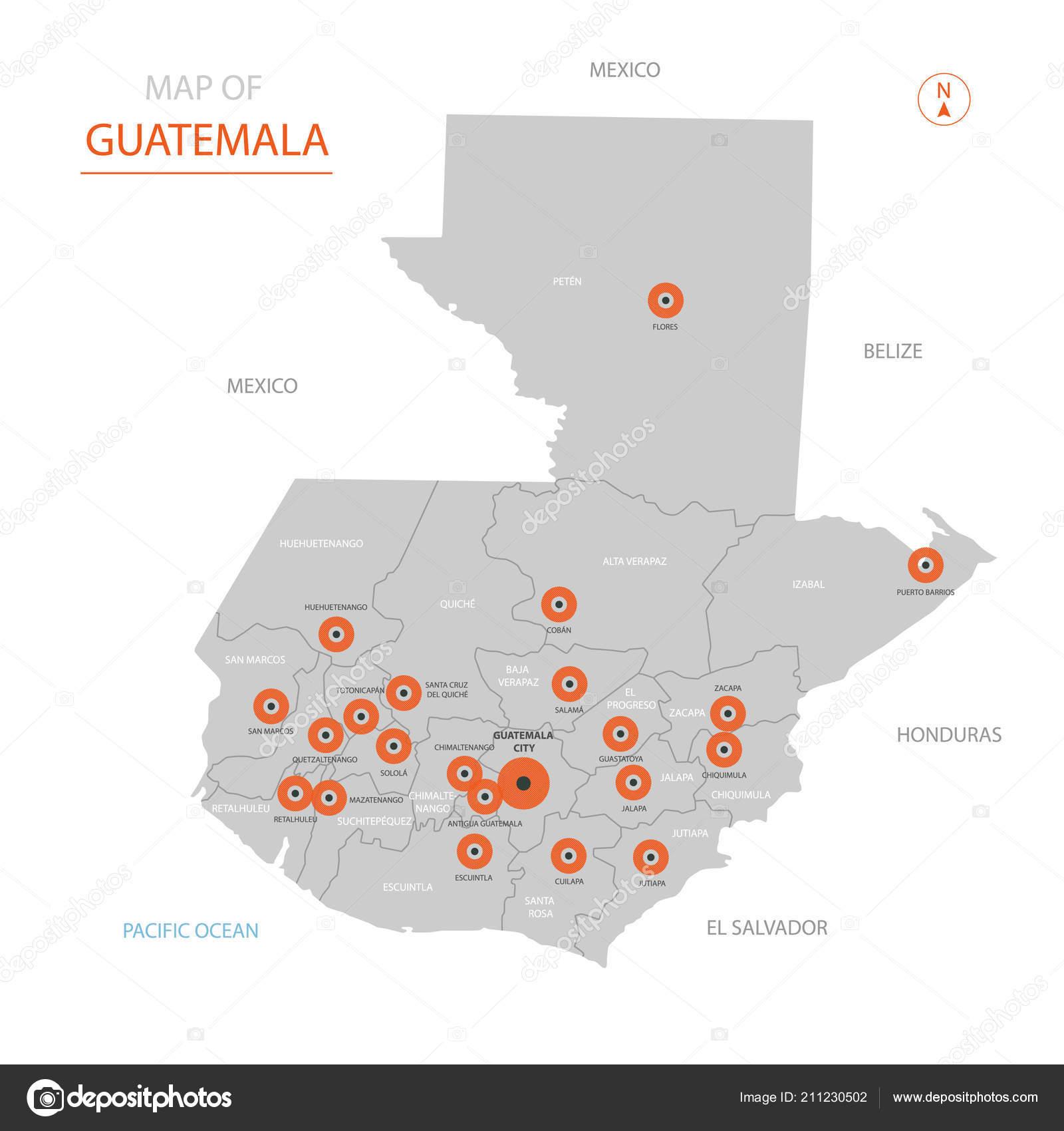 Stylized Vector Guatemala Map Showing Big Cities Capital Guatemala ...