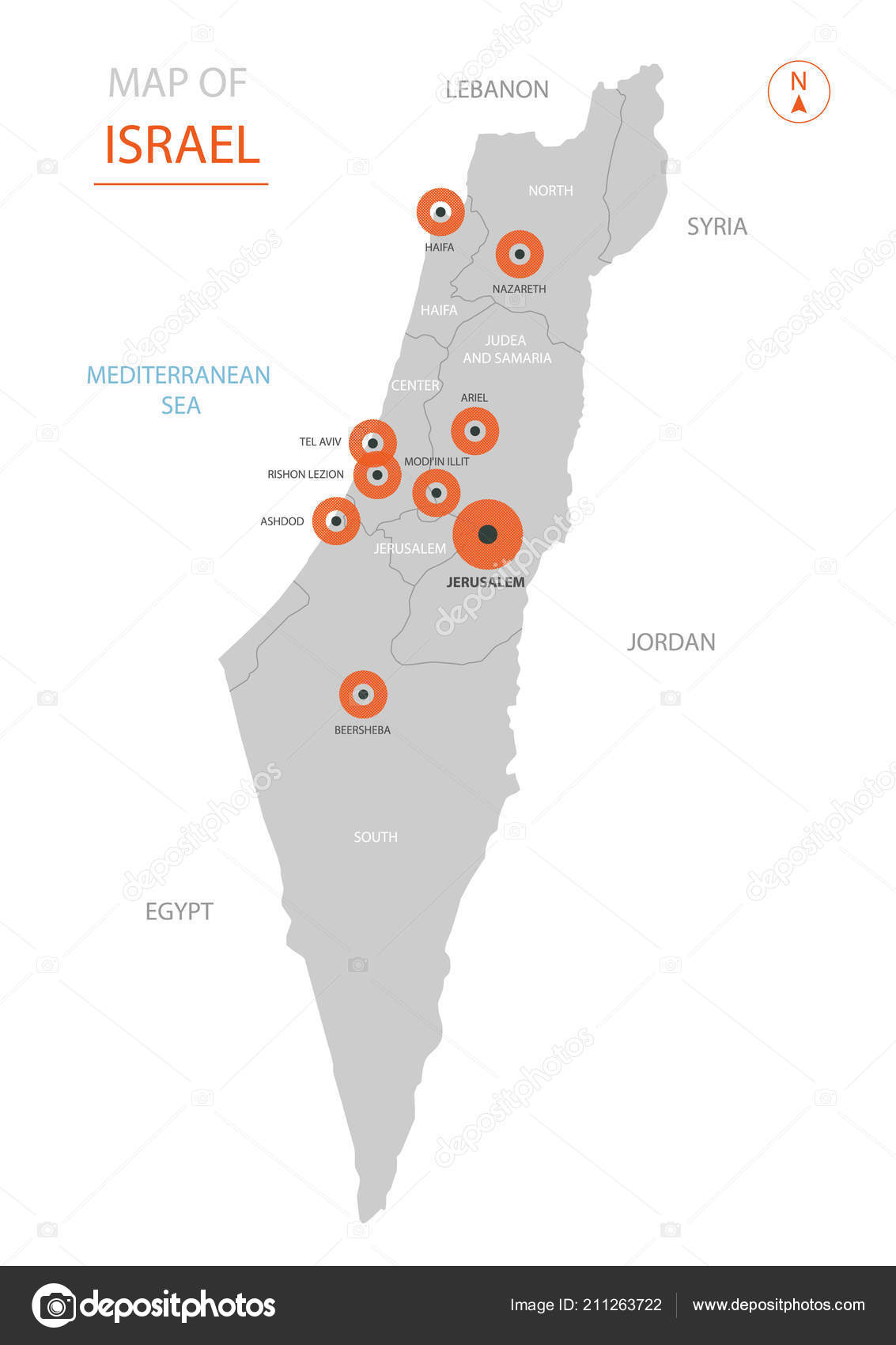 Stylized Vector Israel Map Showing Big Cities Capital Jerusalem ...