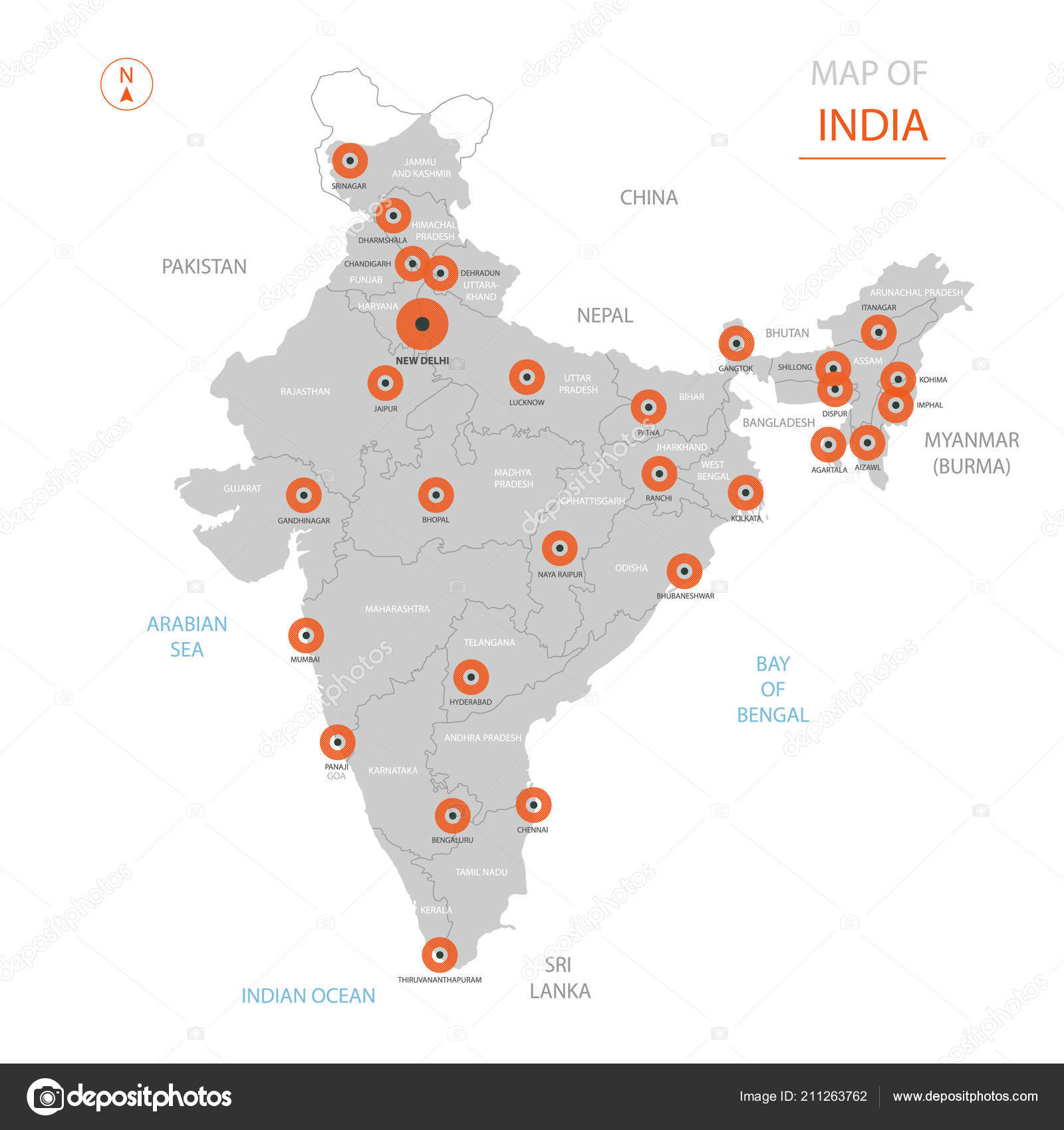 Stylized Vector India Map Showing Big Cities Capital New Delhi ...
