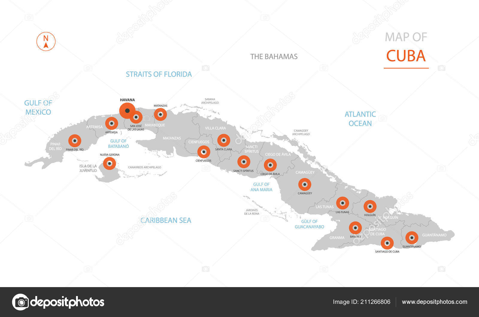 Havanna Kuba Karte.Stilisierte Vektor Kuba Karte Zeigt Große Städte Hauptstadt Havanna