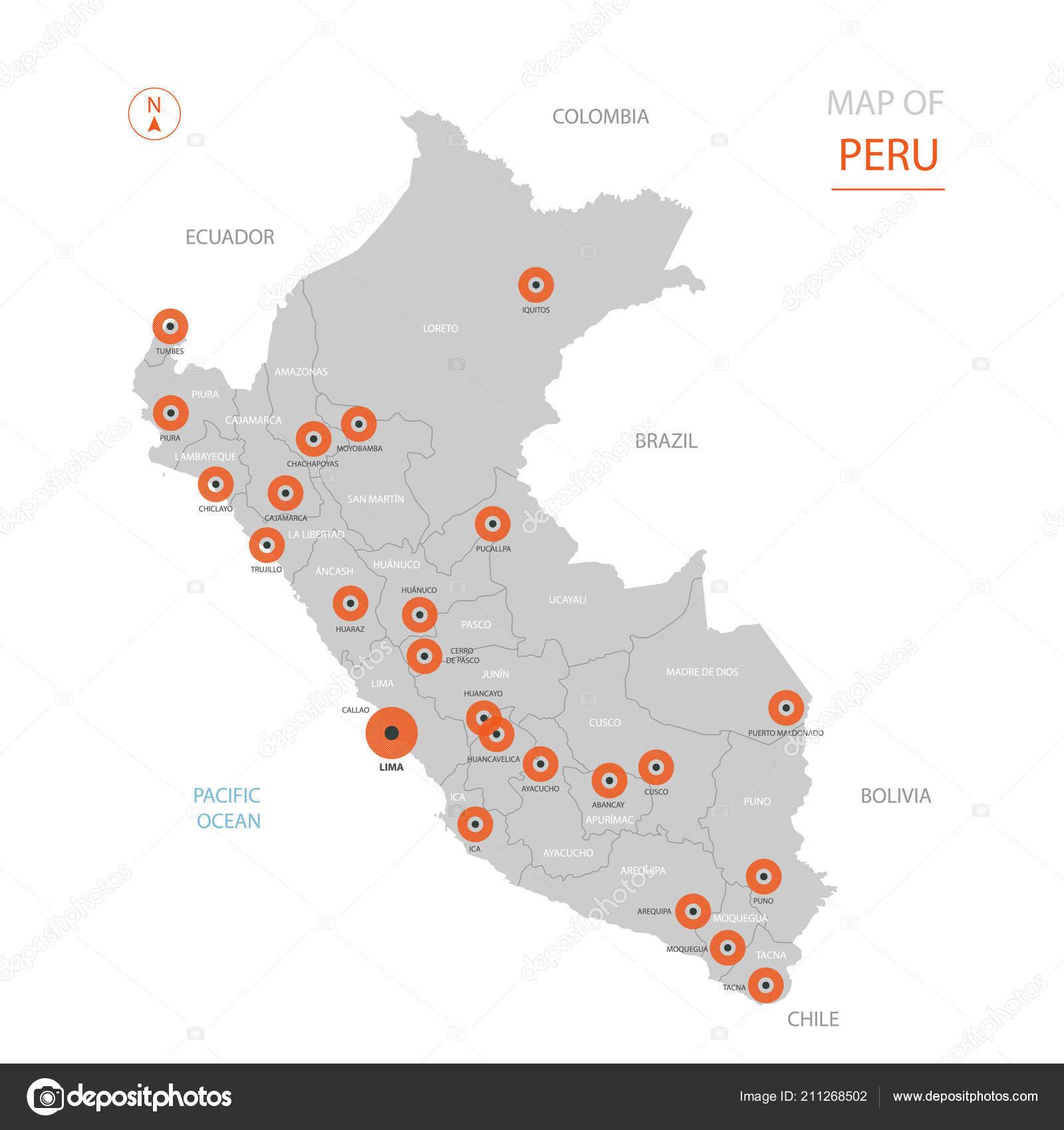 Lima Peru Karte.Stilisierte Vektor Peru Karte Großstadt Hauptstadt Lima