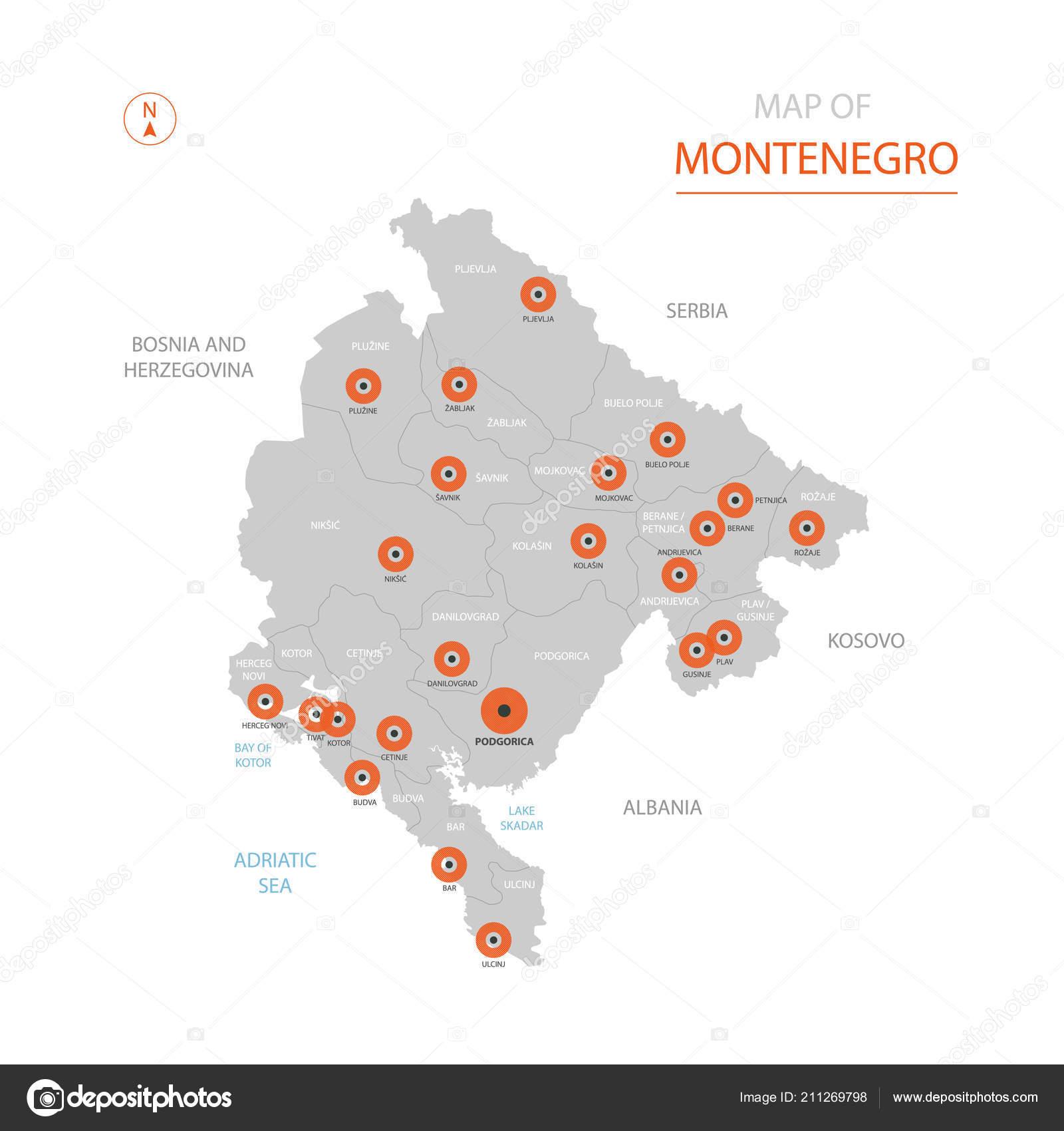 Bar Montenegro Karte.Stilisierte Vektor Montenegro Karte Zeigt Grosse Stadte
