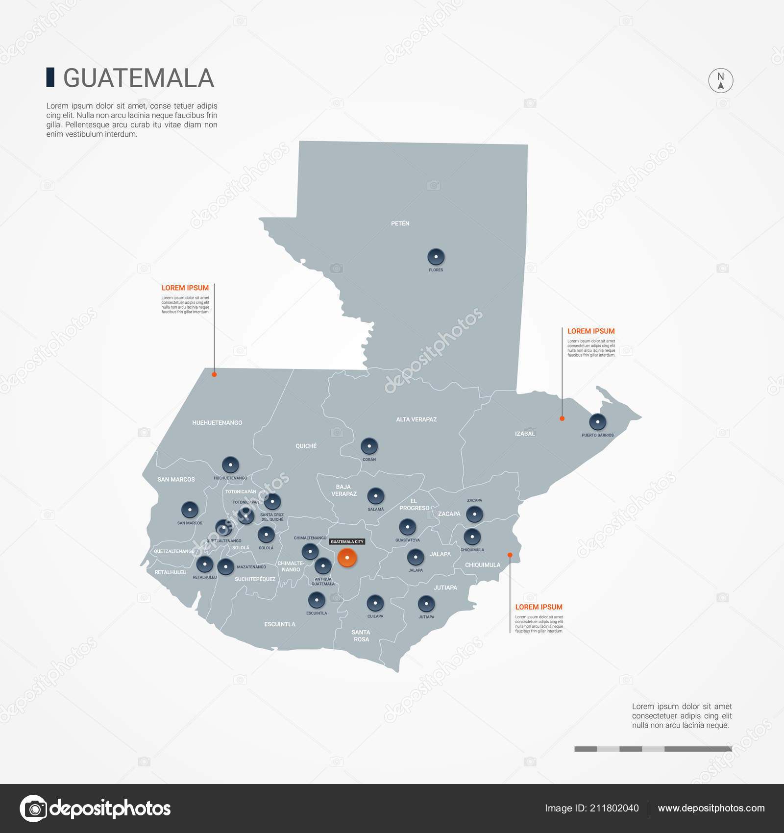 Guatemala Map Borders Cities Capital Administrative Divisions ...