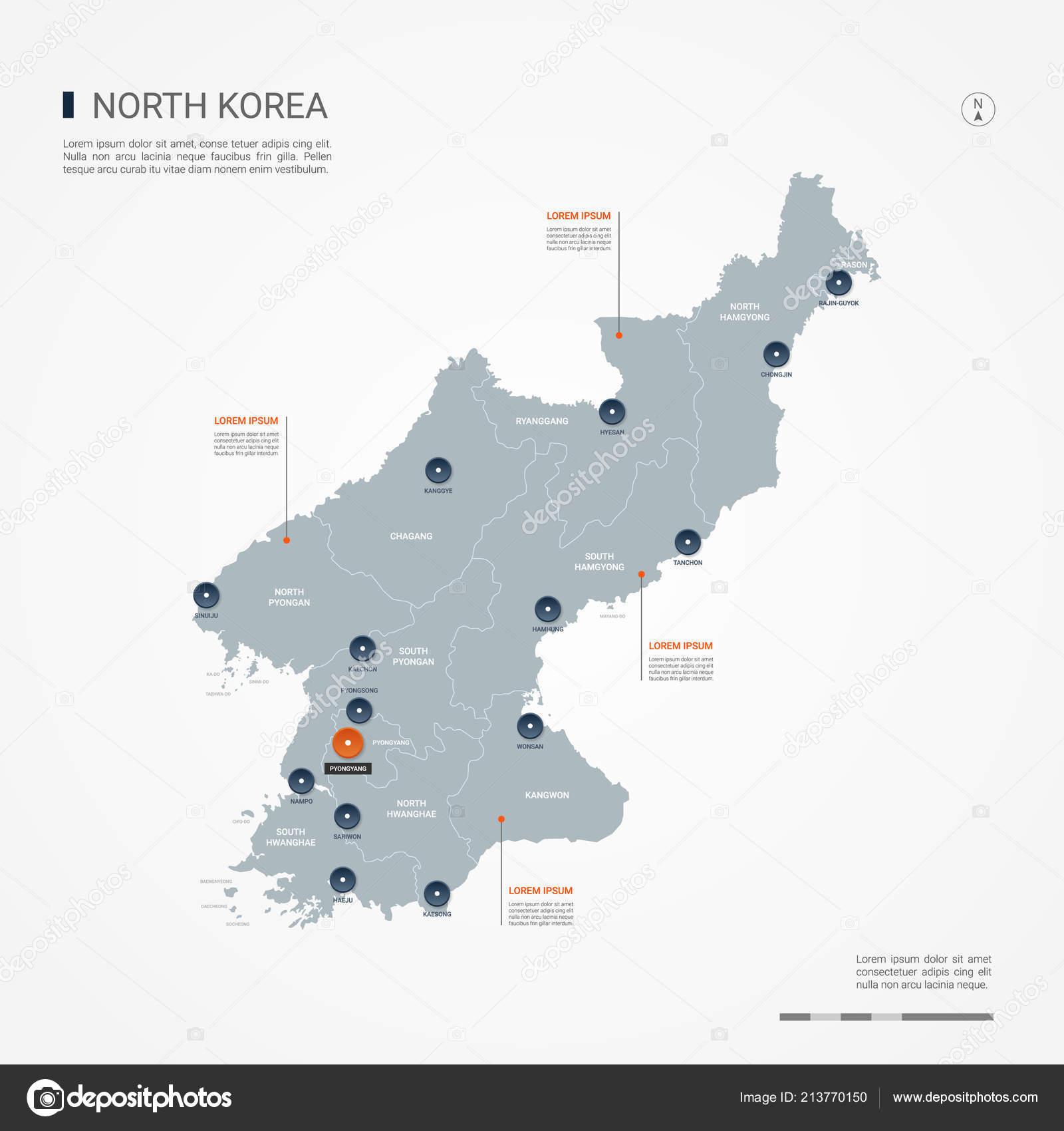 Mapa Corea Del Norte Con Fronteras Ciudades Capital Organizacion