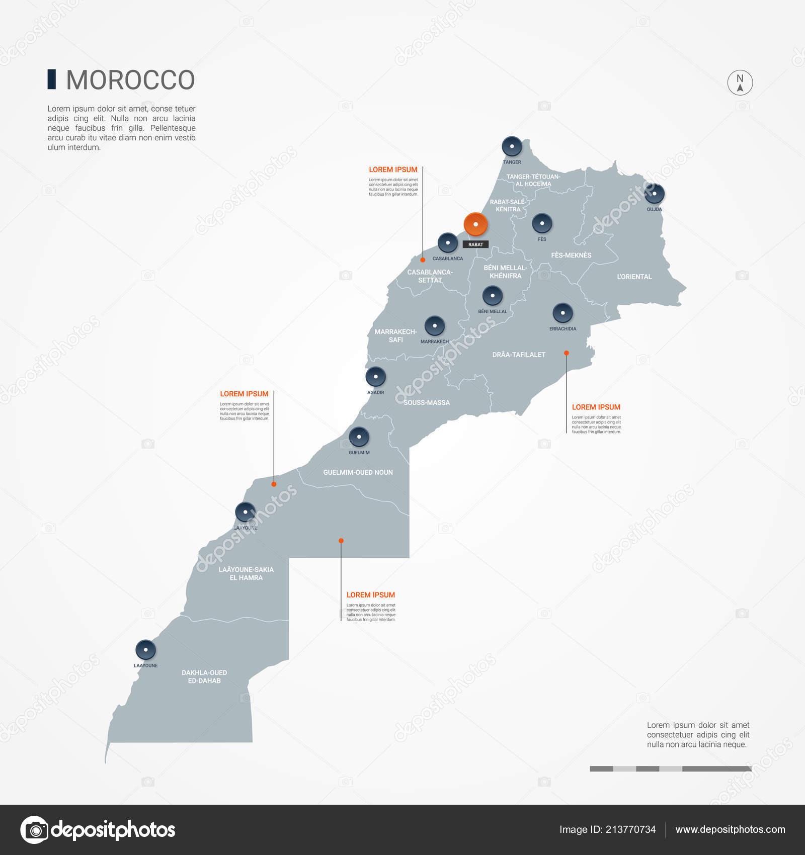 Mapa De Marruecos Ciudades.Mapa Marruecos Con Fronteras Ciudades Capital Organizacion