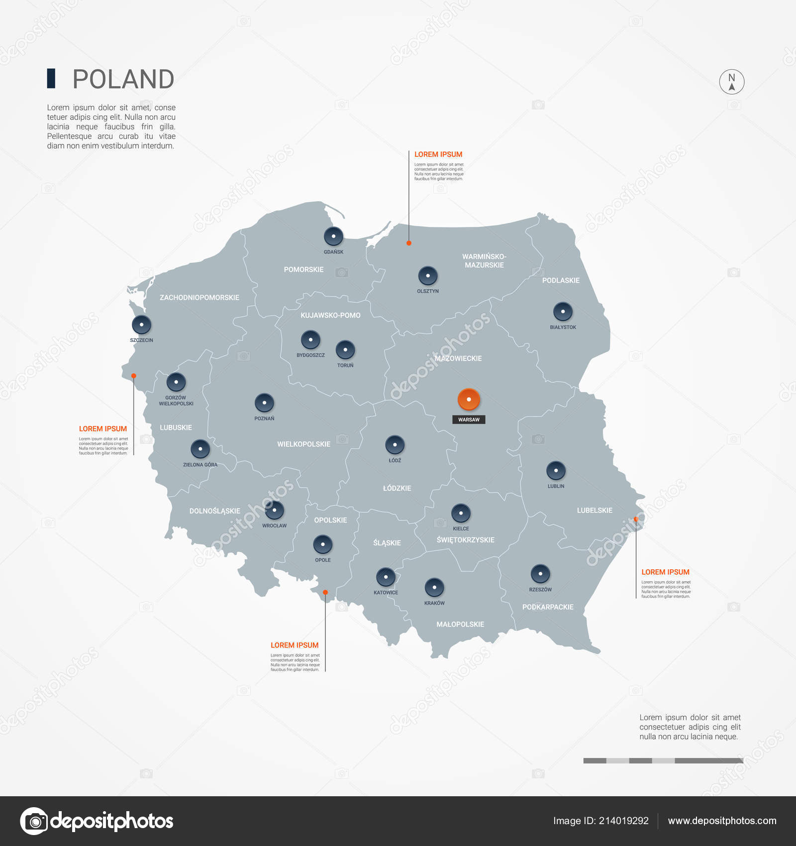 Capital Of Poland Map.Poland Map Borders Cities Capital Administrative Divisions