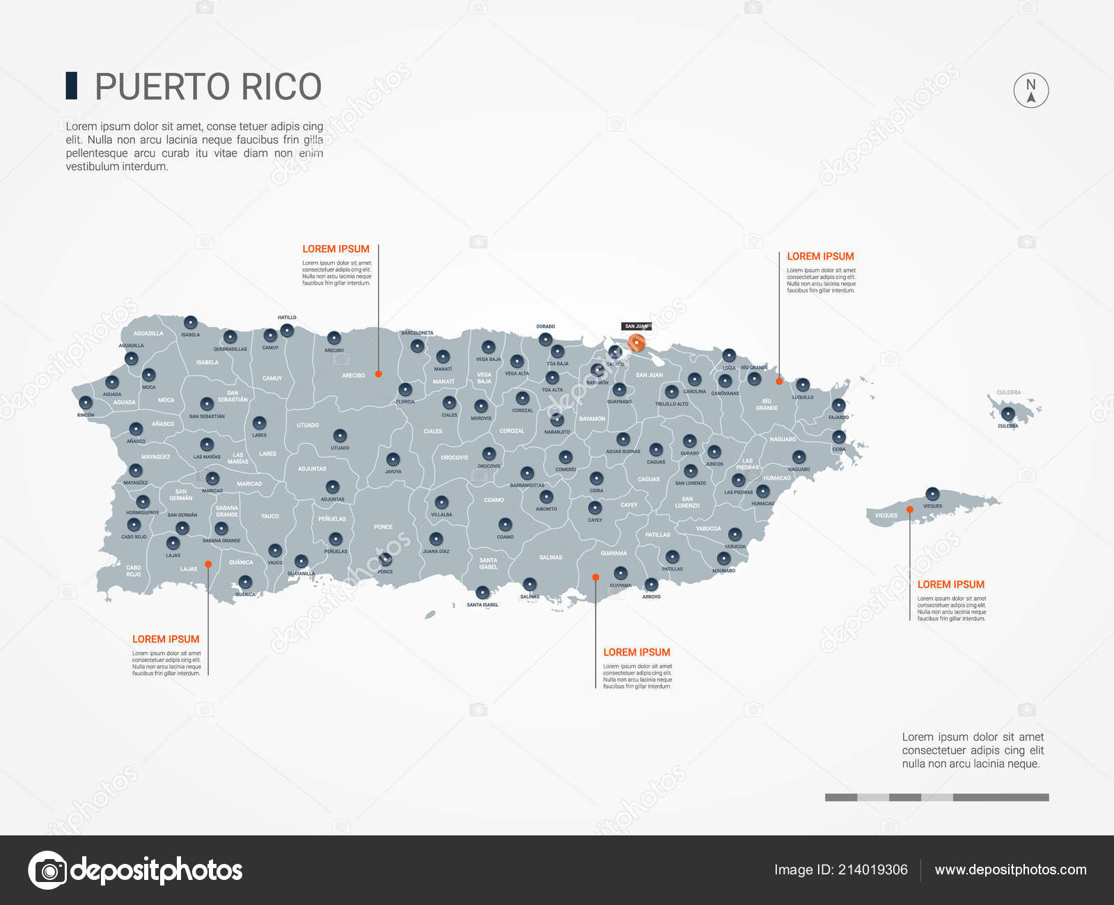 Puerto Rico Map Borders Cities Capital Administrative Divisions ...
