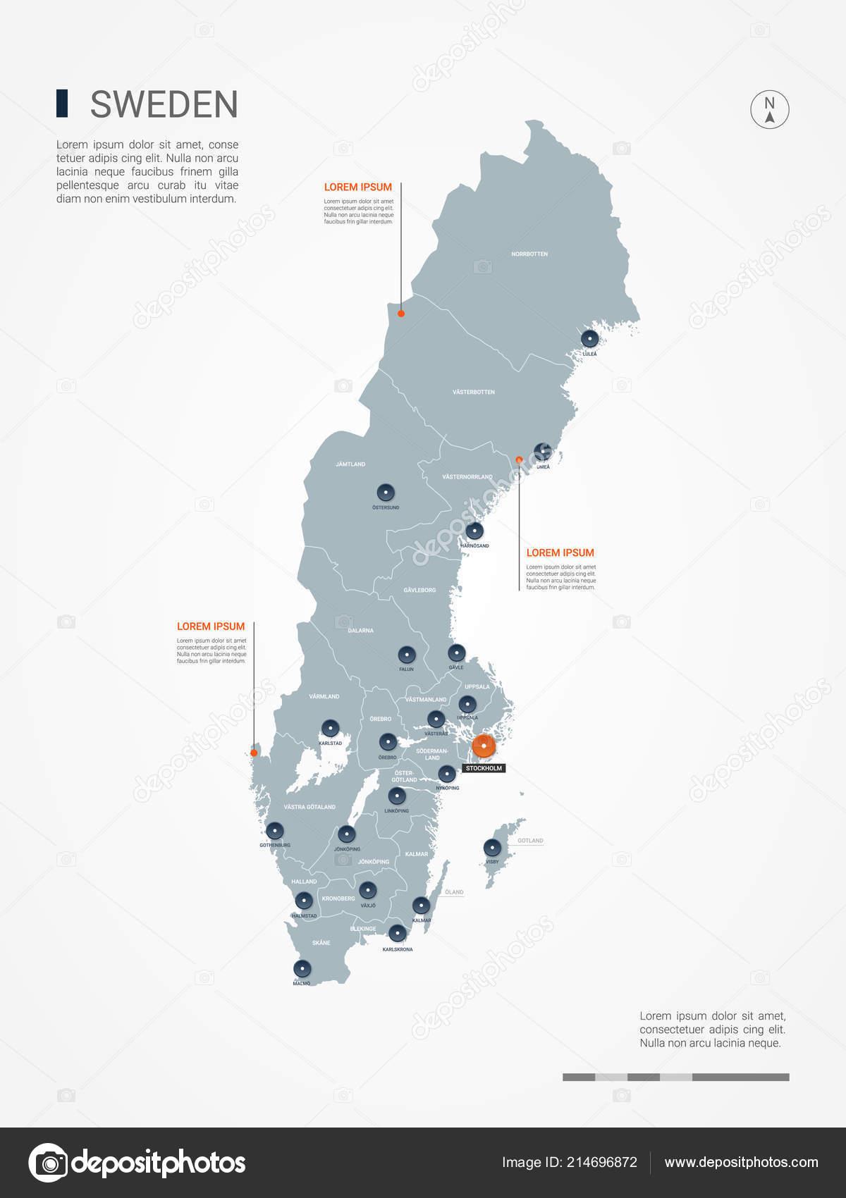 Sverigekarta Landskap Och Stader