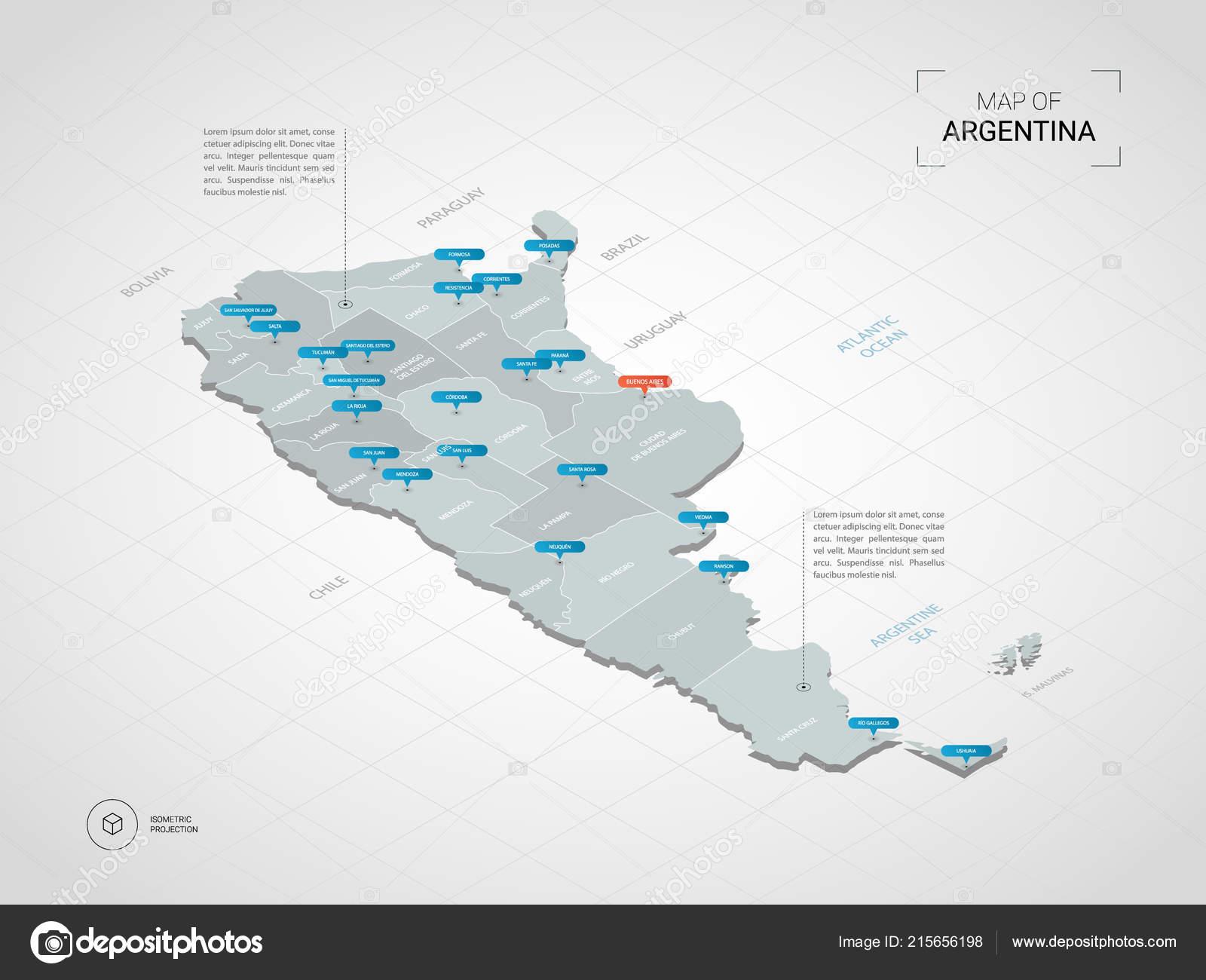Isometric Argentina Map Stylized Vector Map Illustration ...