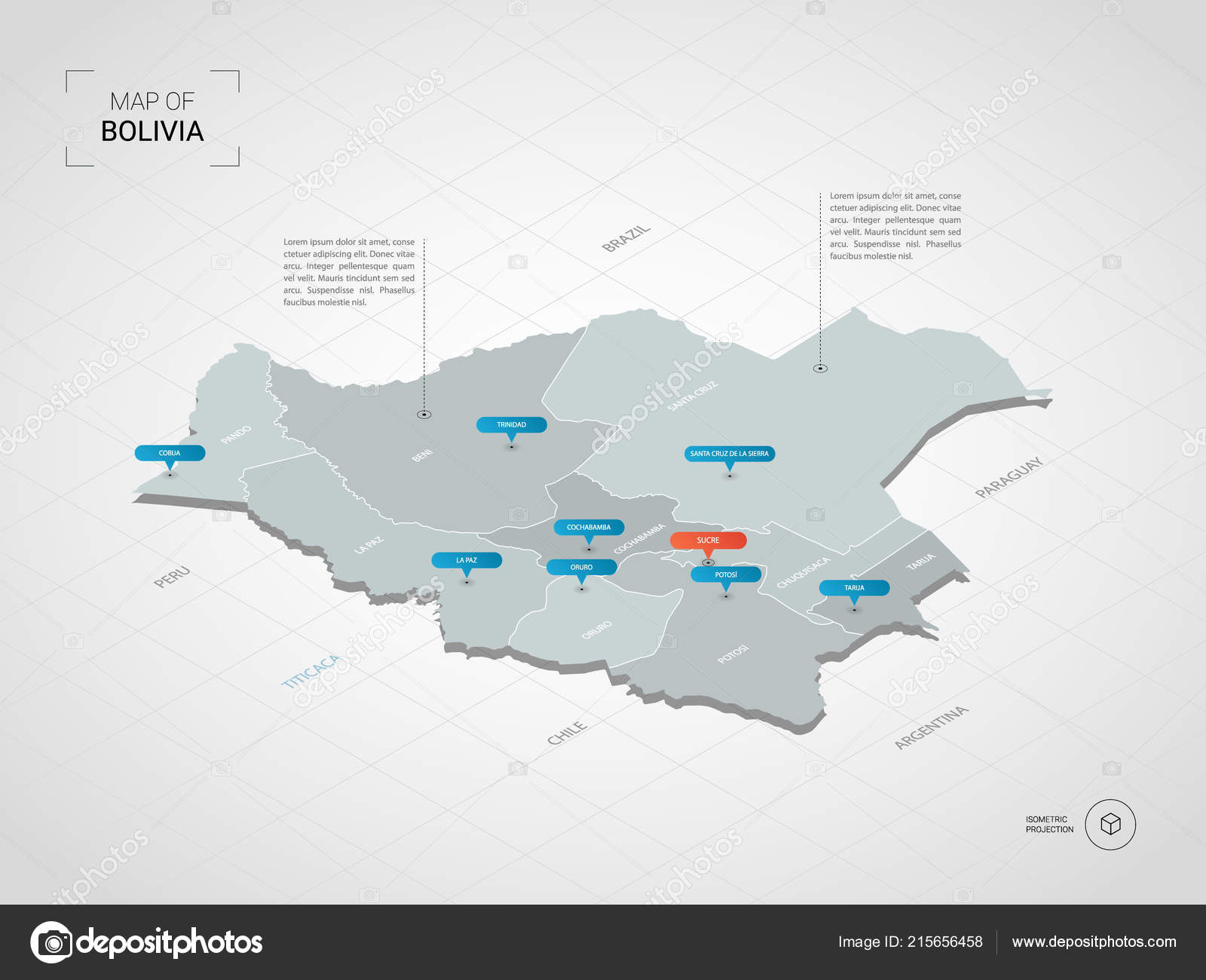 Isometric Bolivia Map Stylized Vector Map Illustration Cities ...