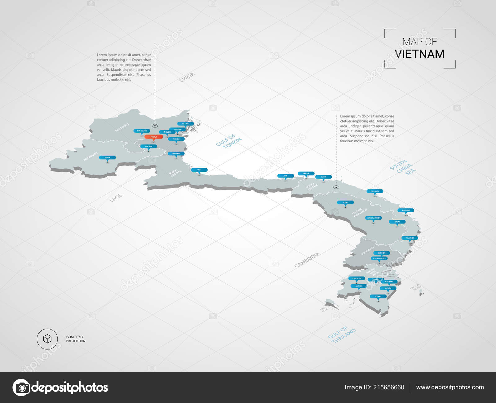 Isometric Vietnam Map Stylized Vector Map Illustration Cities ...