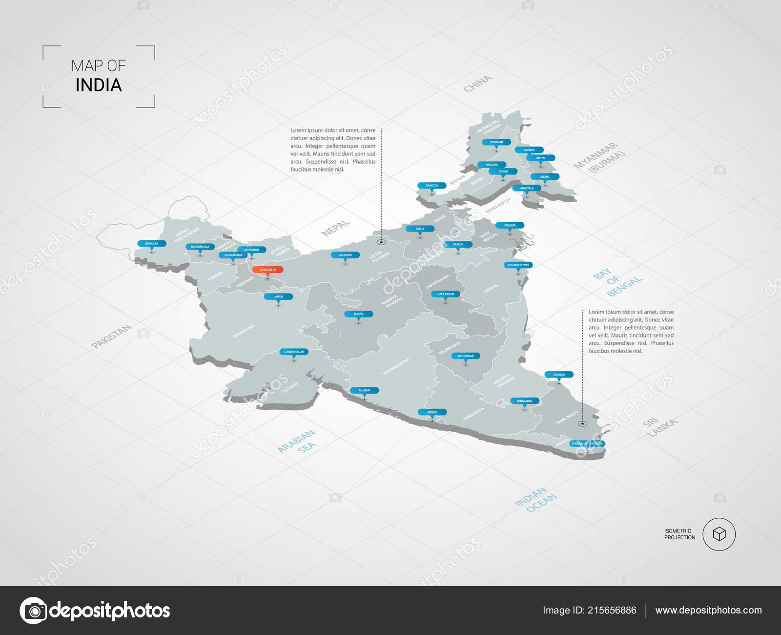 Isometric India Map Stylized Vector Map Illustration Cities Borders ...