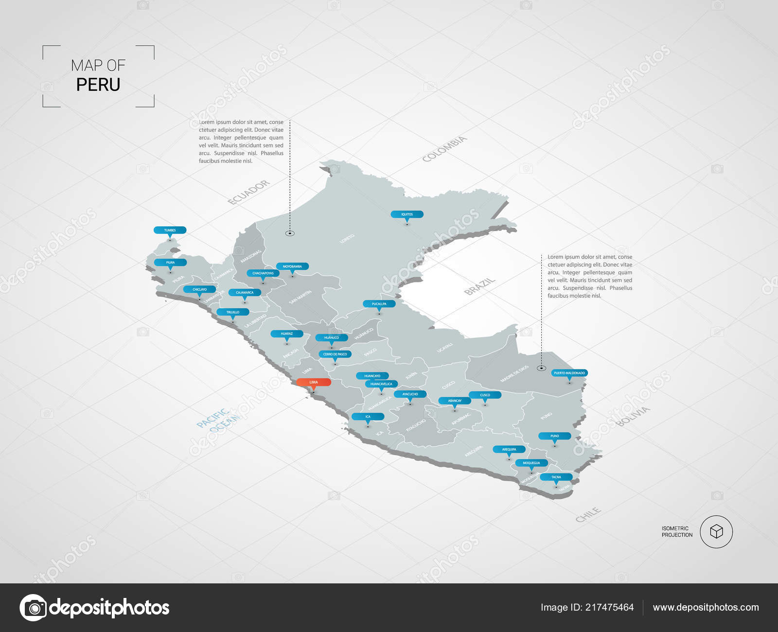 Peru Map Cities.Isometric Peru Map Stylized Vector Map Illustration Cities Borders