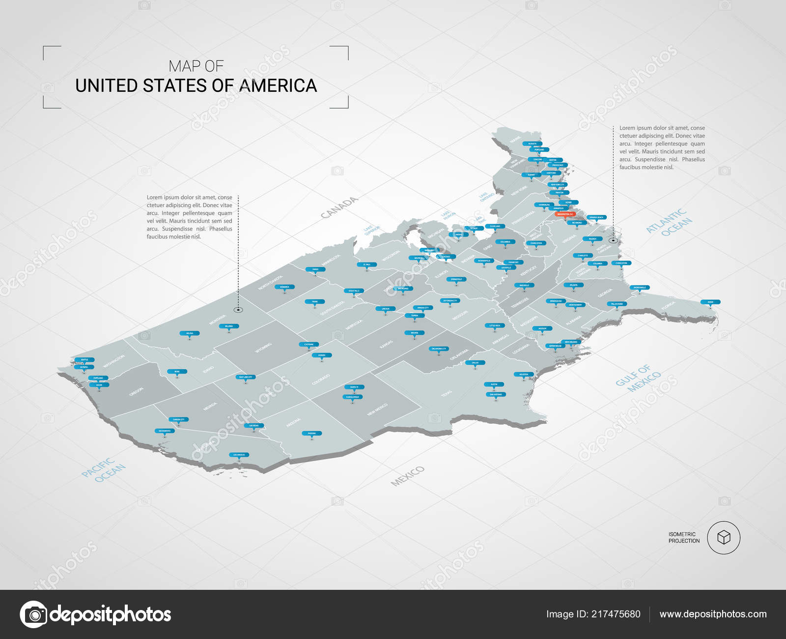 Isometric United States America Usa Map Stylized Vector Map ...