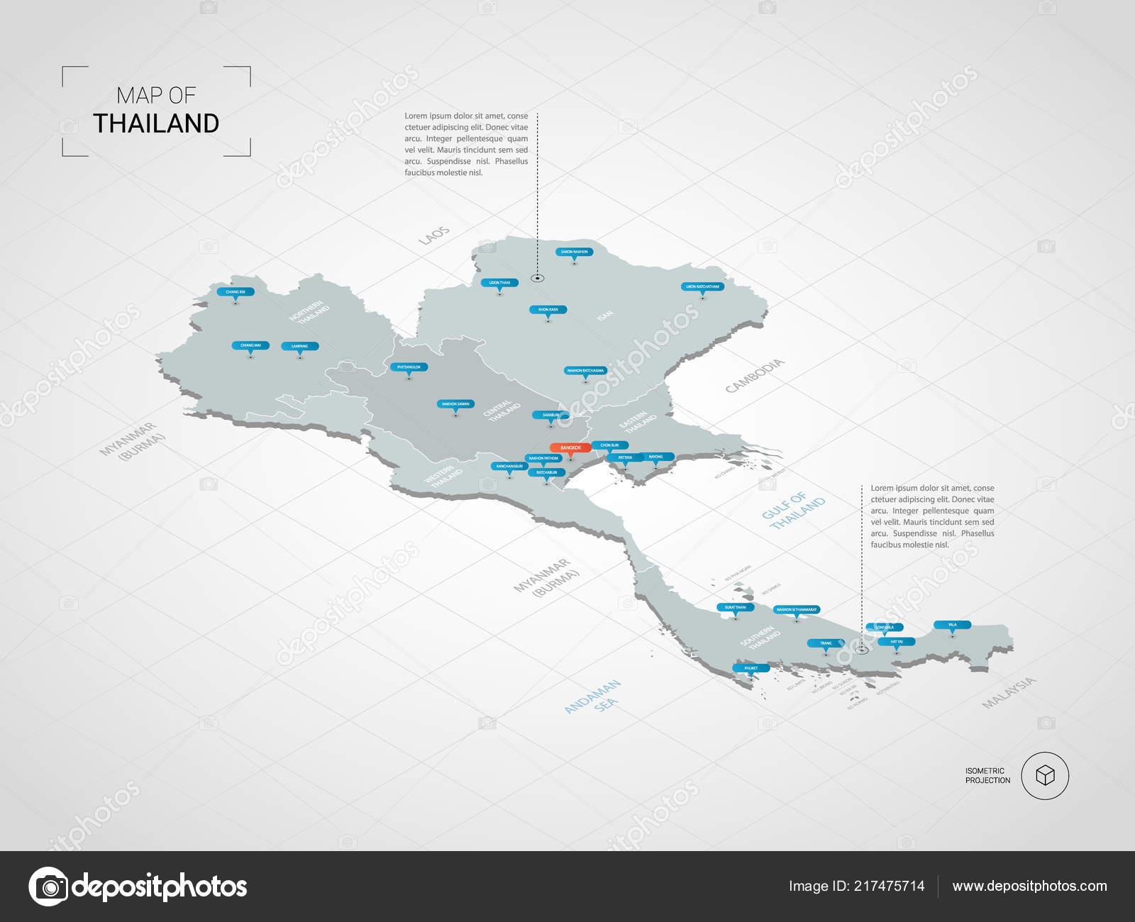 Isometric Thailand Map Stylized Vector Map Illustration Cities ...