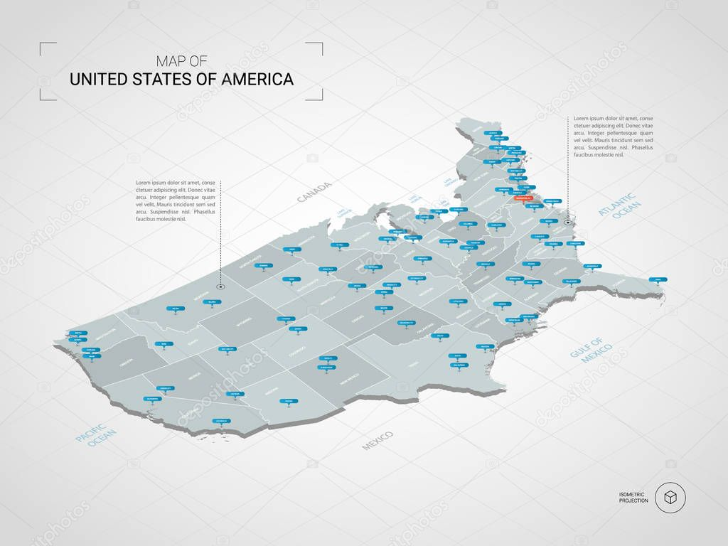 Image of: Isometric 3d United States Of America Usa Map Stylized Vector Map Illustration With Cities Borders Capital Administrative Divisions And Pointer Marks Gradient Background With Grid Premium Vector In Adobe Illustrator Ai