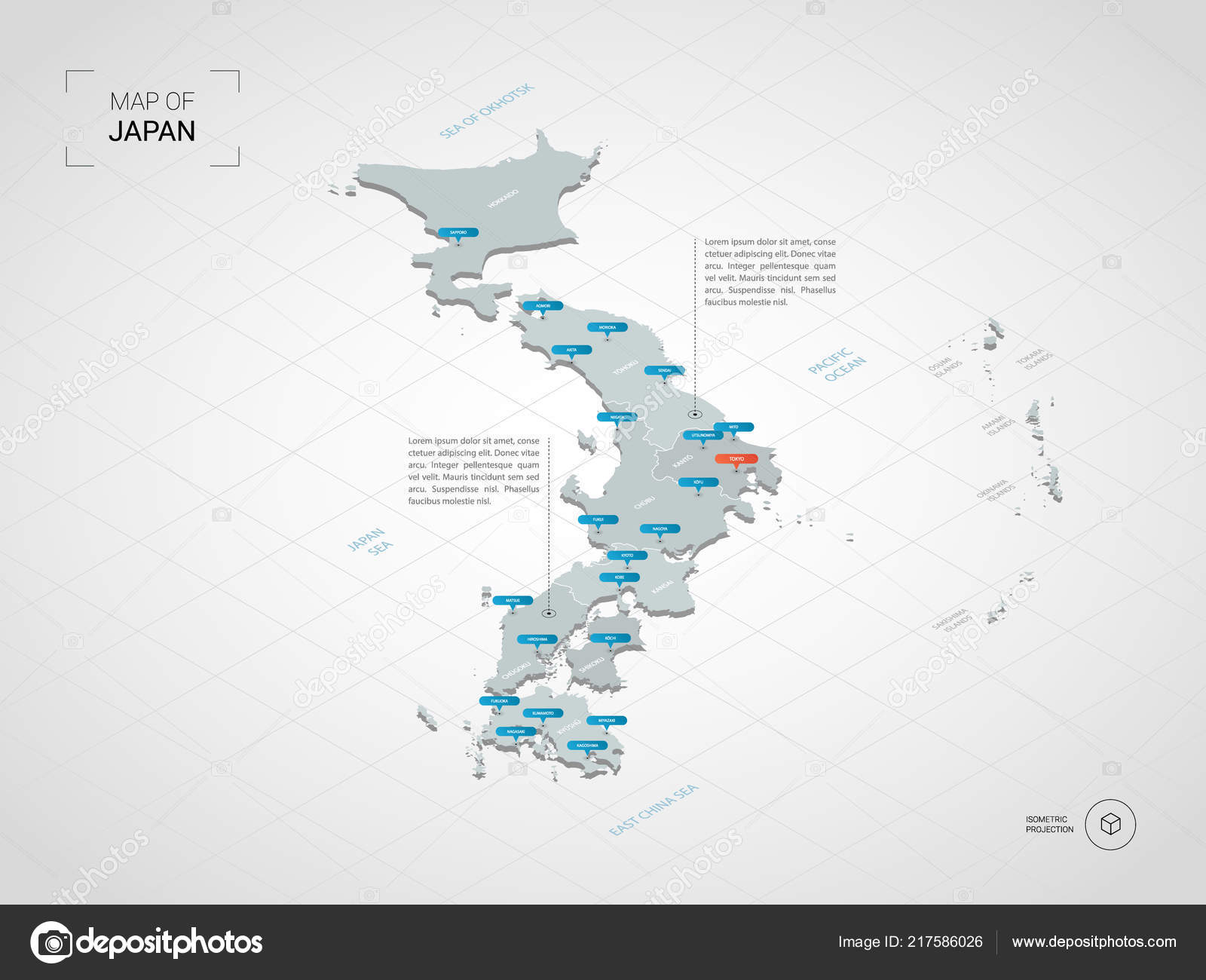Isometric Japan Map Stylized Vector Map Illustration Cities Borders