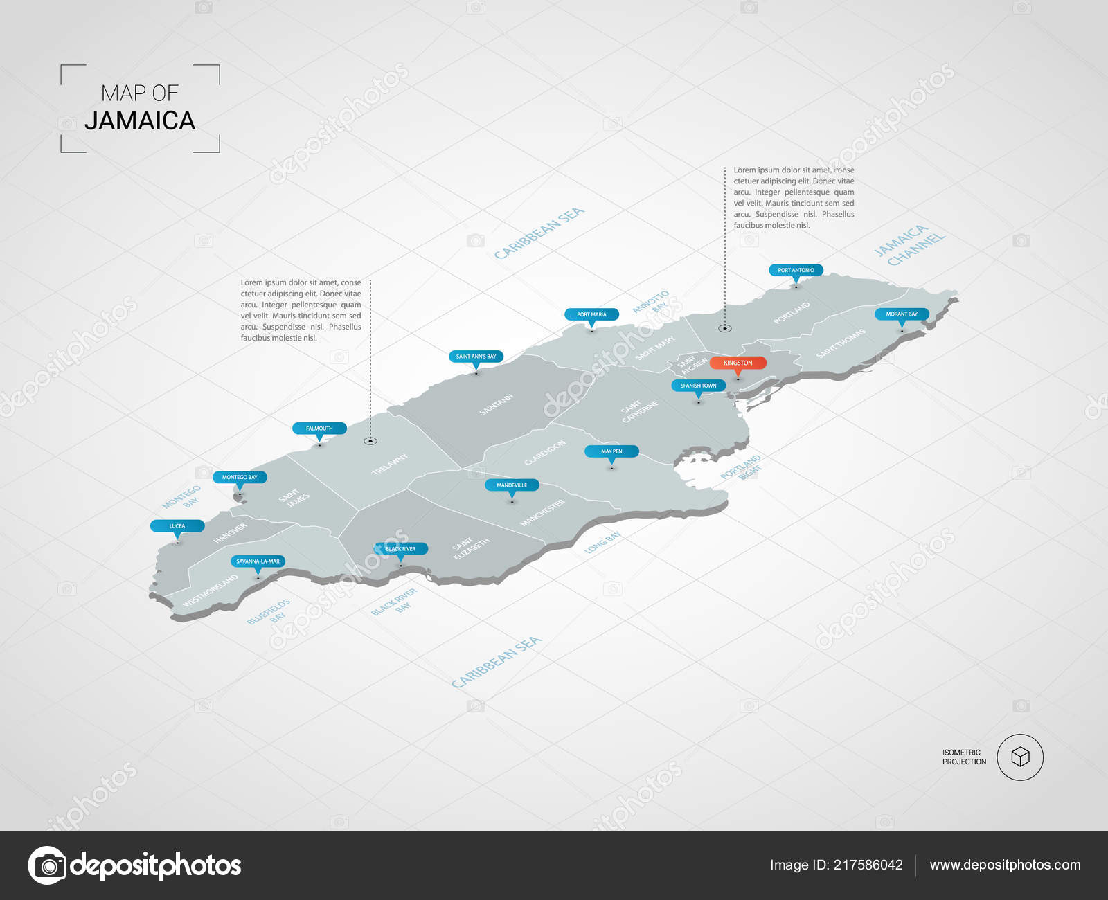 Isometric Jamaica Map Stylized Vector Map Illustration Cities ...