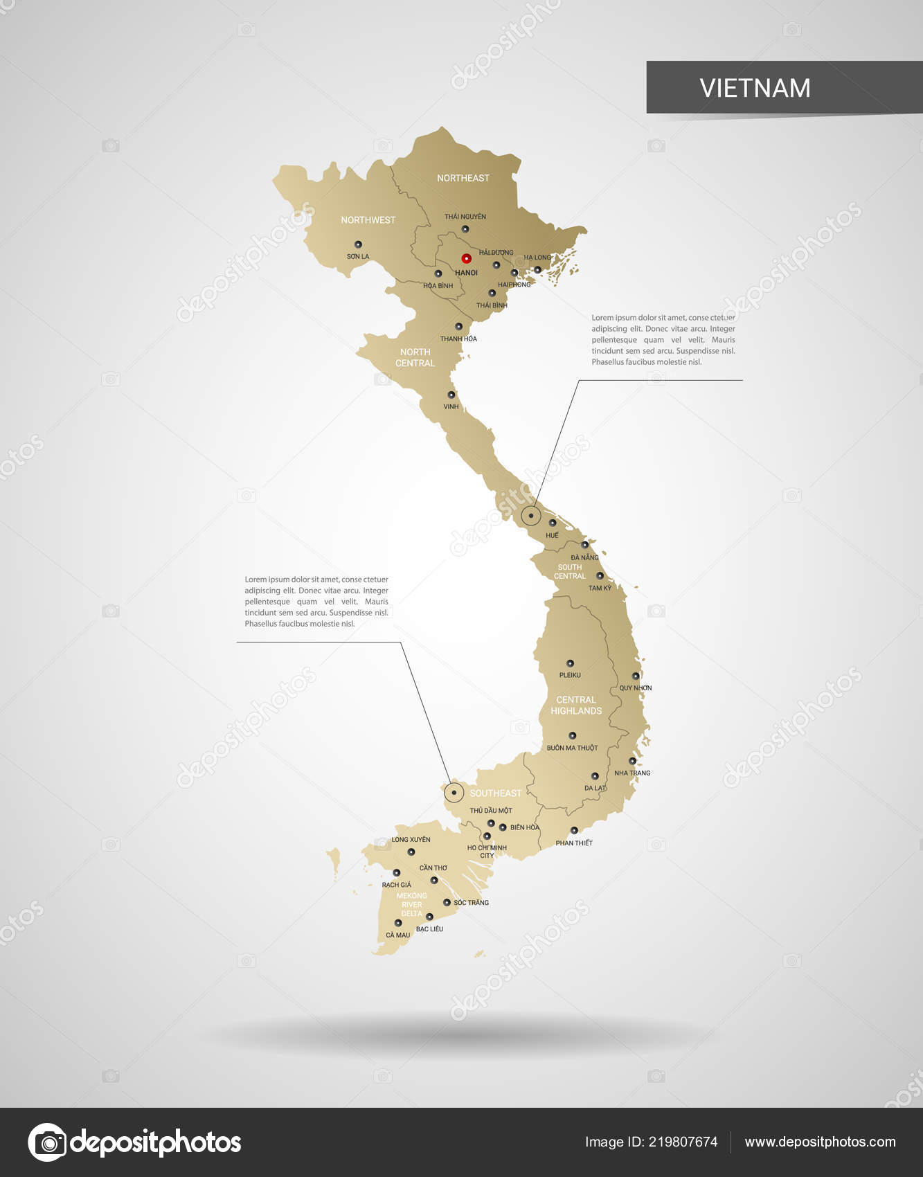 Stylized Vector Vietnam Map Infographic Gold Map ...