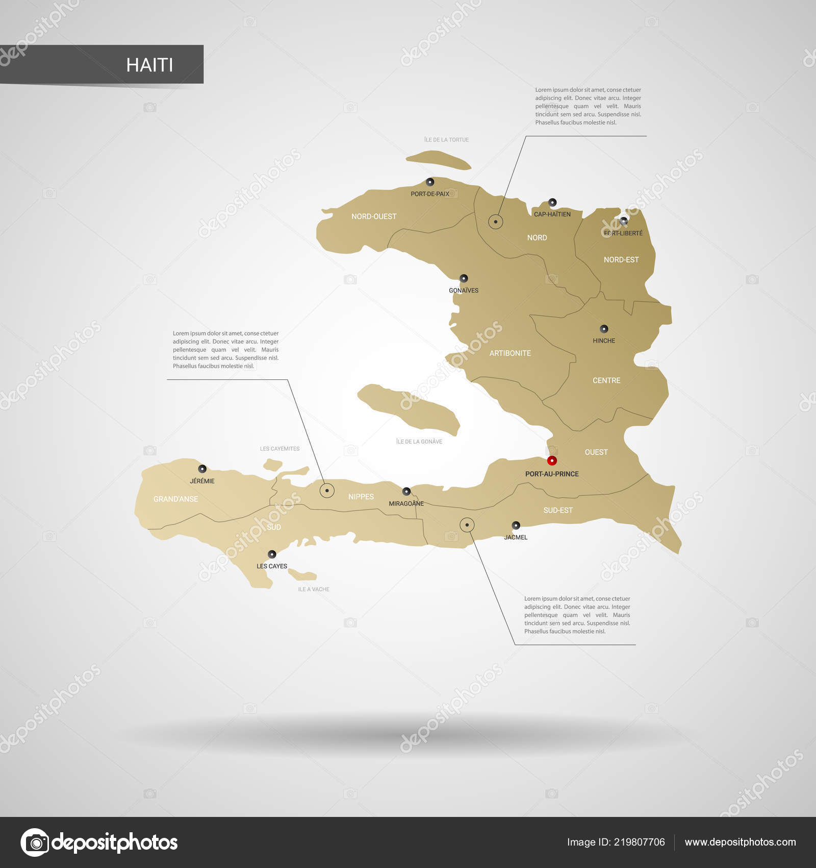 Stylized Vector Haiti Map Infographic Gold Map Illustration Cities ...