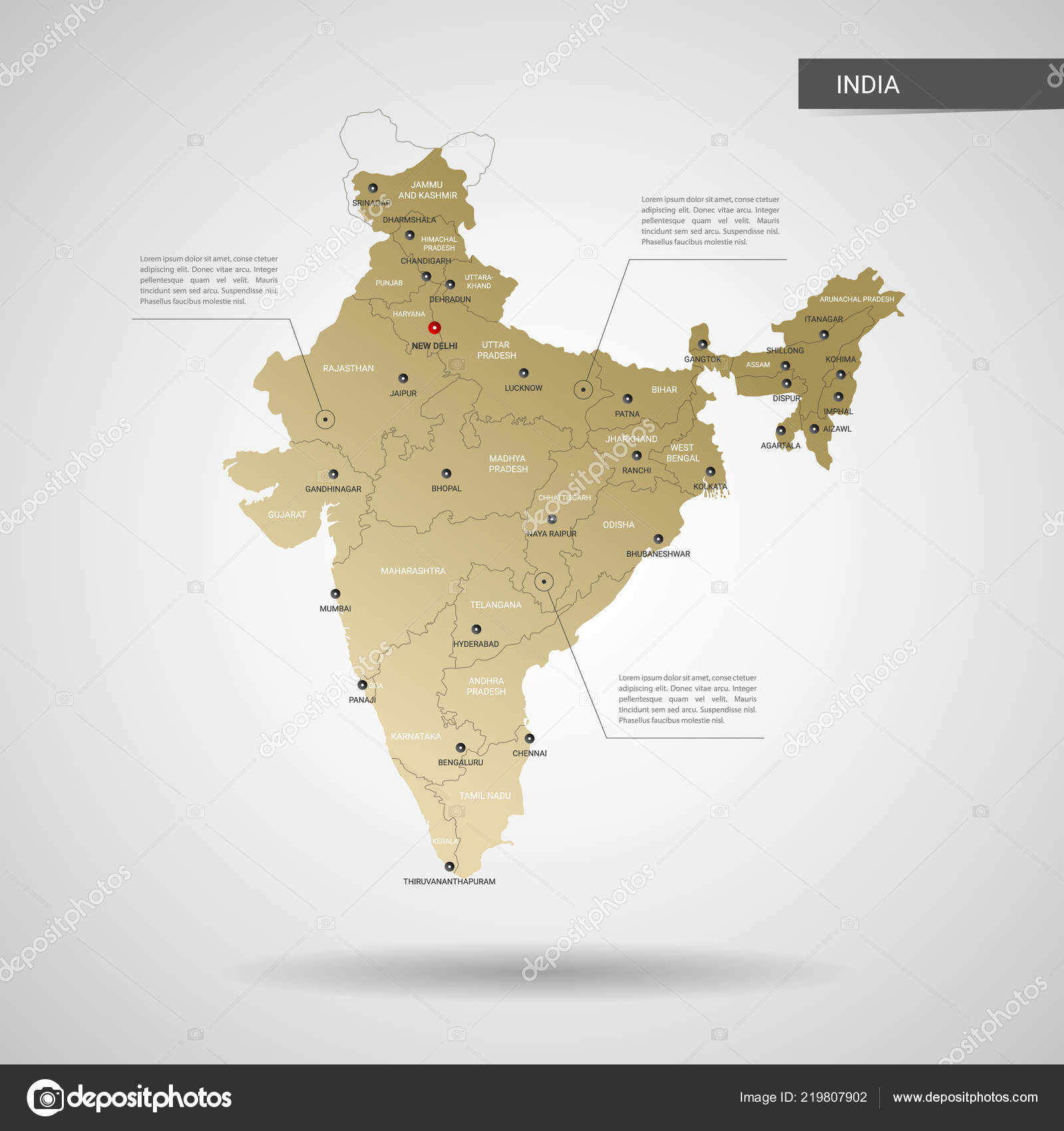 Stylized Vector India Map Infographic Gold Map Illustration Cities ...