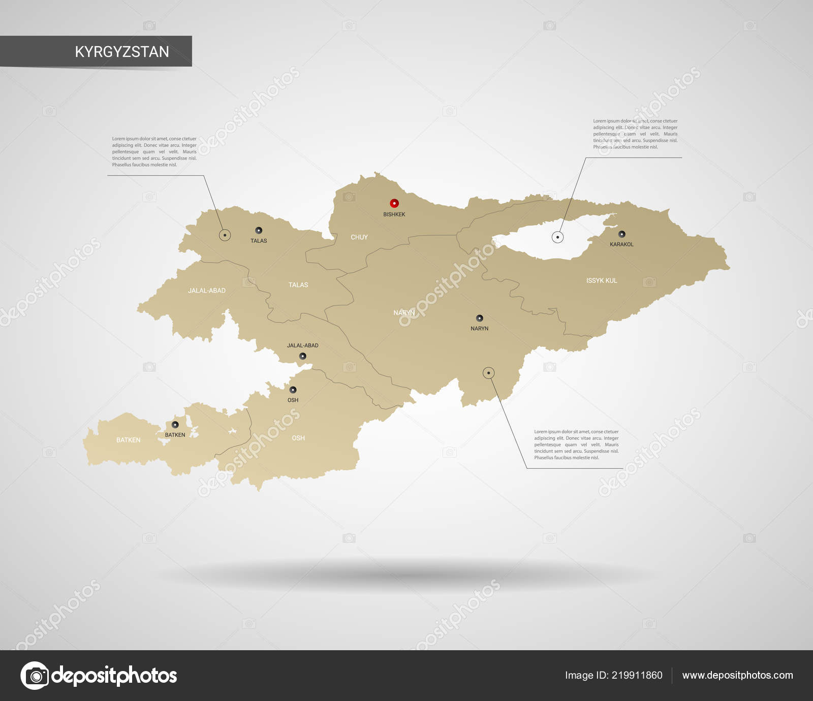 Stylized Vector Kyrgyzstan Map Infographic Gold Map ...