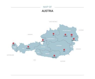 """Картина, постер, плакат, фотообои """"Векторная карта Австрии. Редактируемый шаблон с регионами, городами, красной булавки и синяя поверхность на белом фоне. """", артикул 223547530"""