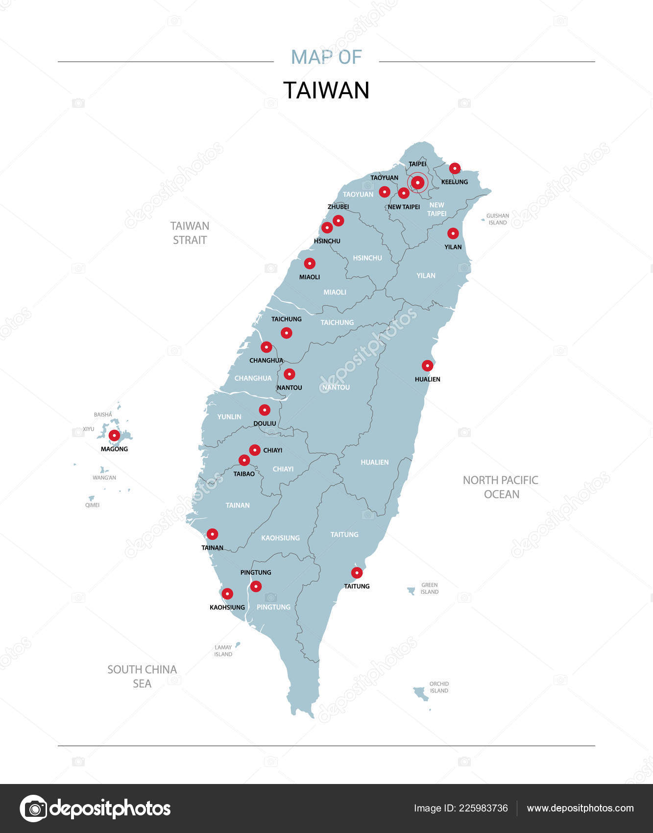 taiwan vector map editable template regions cities red pins blue